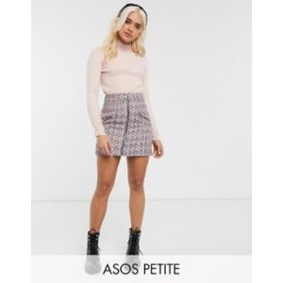 エイソス レディース スカート ボトムス ASOS DESIGN Petite boucle mini skirt with zip front and pockets Pink