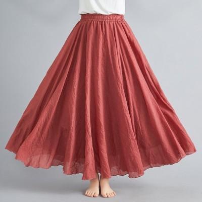マキシスカート レディース フレアスカート 綿麻混 ロングスカート ウエストゴム リネン風 ボトムス スカート 大きいサイズ 着痩せ