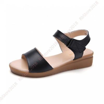シンプル サンダル ウェッジソール レディース 歩きやすい ヒール 4cm  夏 サマーサンダル 美脚 軽量 きれいめ 大きいサイズ ビーチ 普段用 痛くない 疲れない