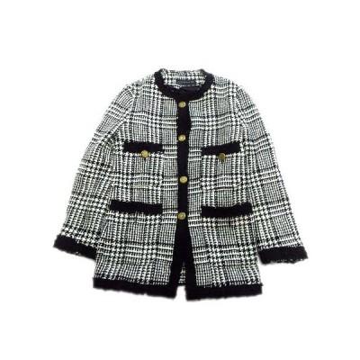 【中古】ザラウーマン ZARA WOMAN ニット コート ジャケット ブルゾン 金ボタン チェック フリンジ XS 黒 白 レディース♪1  【ベクトル 古着】