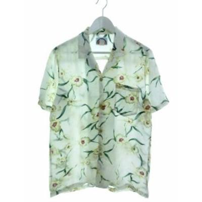 【中古】パラダイスファウンド PARADISE FOUND アロハシャツ 半袖 トップス 花柄 USA製 ホワイト S メンズ