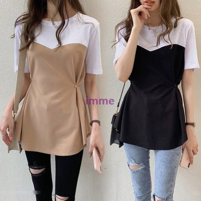 Tシャツ レディース 40代 春夏 半袖Tシャツ 配色トップス フェイクレイヤード オシャレ 大きいサイズ 通勤 カジュアル韓国風 ゆったり 学生Tシャツ