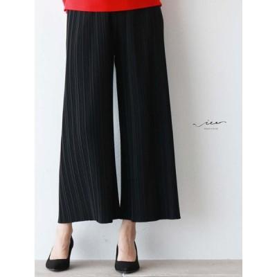 ブラック Vieo 極上のリラックスパンツ ゆったり レディース きれいめ シンプル 大人 上品 プリーツ 着やせ 40代 50代 60代 ミセス