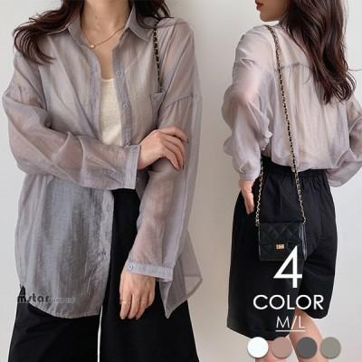 シアーシャツ シャツ カーディガン レディース 羽織 薄手 シアー 冷房よけ UVカット 紫外線対策 トップス