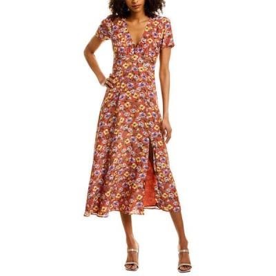 ユミキム ワンピース トップス レディース YUMI KIM Silk-Blend Midi Dress so amazing rust