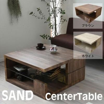 強化ガラス×古材風 センターテーブル ローテーブル リビングテーブル 80×80 / 収納付き f