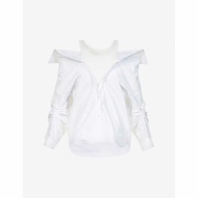 アレキサンダー ワン ALEXANDER WANG レディース オフショルダー コットン トップス Off-The-Shoulder Cotton Shirt BRIGHT WHITE