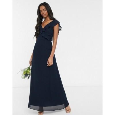 ウエアハウス レディース ワンピース トップス Warehouse Bridesmaids frill wrap chiffon maxi dress with button back in navy