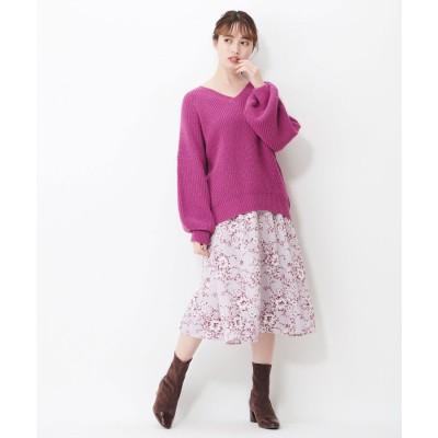 シュープリームララ Supreme.La.La. ツートンハナガラウエストギャザースカート (ピンク)