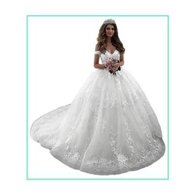 QueenBridal Gorgeous Off Shoulder Champagne Lace Court Train Bridal Gowns Wedding Dress for Bride QB-03並行輸入品