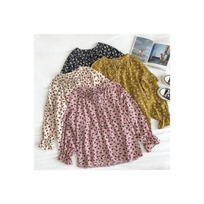 【送料無料】スウィート ひもあり 丸襟 小さな花柄 ドールシャツ 女 秋 新品 韓国風 ルース 西洋 | 346770_A63803-2792380