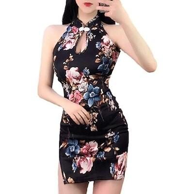 セクシー 花柄 タイト ミニ ワンピース キャバ ドレス ボディコン チャイナドレス パーティー 胸 あき ブラック, M(ブラック  M)