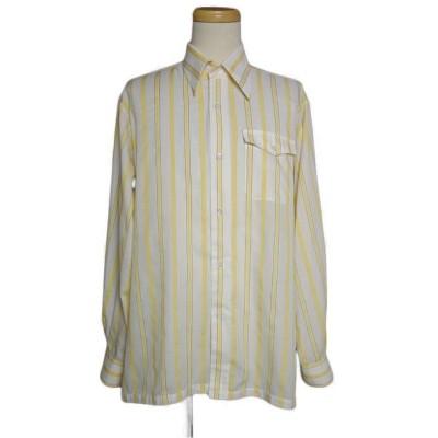 イングランド LEROI ストライプ柄 シャツ メンズ Lサイズ 長袖 ビンテージ 古着 ユーズド