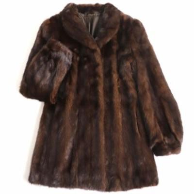 毛並み極美品▼MINK ミンク 裏地花柄刺繍入り 本毛皮コート ダークブラウン 毛質艶やか・柔らか◎
