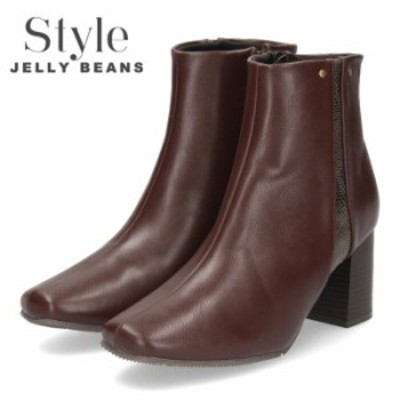 【BIGSALEクーポン対象】 STYLE JELLY BEANS ジェリービーンズ ブーツ ダークブラウン 288 ショートブーツ 茶色 レディース 靴 ヒール