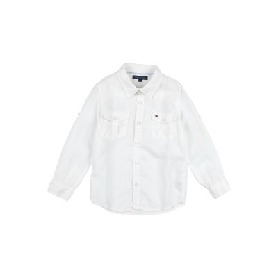 YOOX - トミーヒルフィガー TOMMY HILFIGER シャツ ホワイト 5 麻 100% シャツ