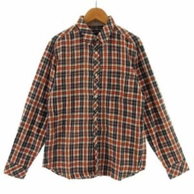 【中古】コムサイズム COMME CA ISM シャツ 長袖 チェック ブラック 黒 オレンジ系 ホワイト 白 イエロー 黄色 S