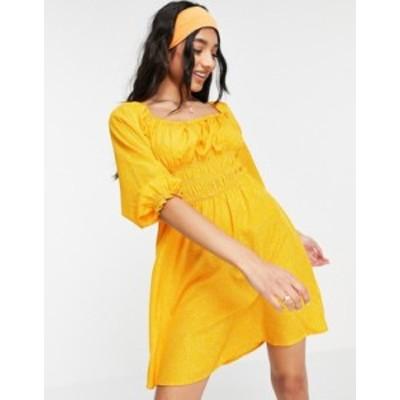 ニュールック レディース ワンピース トップス New Look shirred bust puff sleeve mini dress in orange spot Orange pattern
