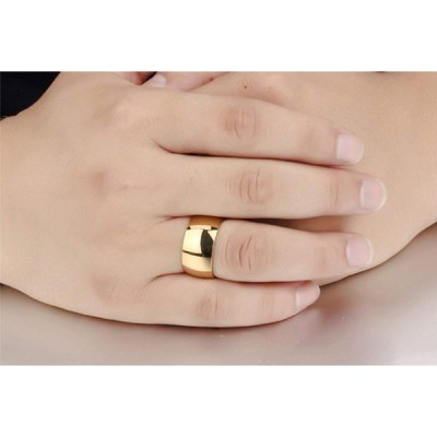Fashion Month Mens 12mm Classic Gold Wedding Engagement 316L Stainless