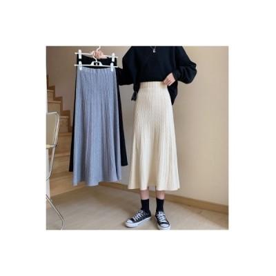 【送料無料】韓国風 ハイウエスト ニットスカート 女 開く 春 ファッション ショー | 364331_A64812-2788197