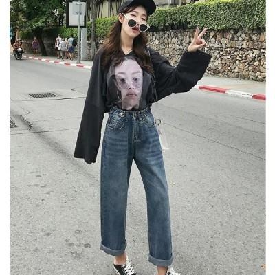 デニム ワイド パンツ  韓国 オルチャン 原宿 ストリート  K-POP ゆったり アメカジ 大人 きれいめ ダンス 衣装 HIPHOP ジーンズ  レディース J-1145