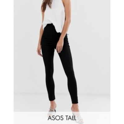 エイソス レディース レギンス ボトムス ASOS DESIGN Tall Rivington high waisted denim jeggings in clean black Black