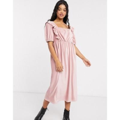 エイソス レディース ワンピース トップス ASOS DESIGN square neck cord midi dress in pink