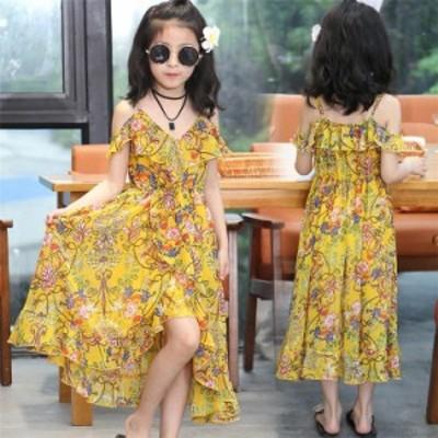 ワンピース 子供 ノースリップ リゾート 韓国子供服 kids 女の子 ロングワンピ 子ども 夏 120cm-170cm ママサイズもあり