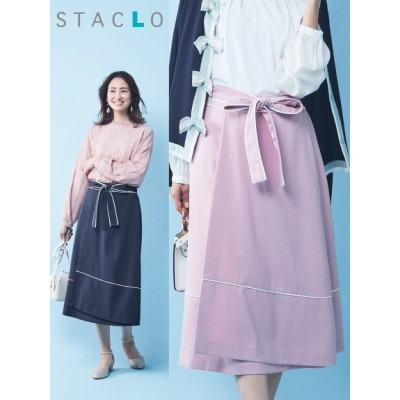 【大きいサイズ】エレガントフレアタックスカート(スタクロ) 大きいサイズ スカート レディース