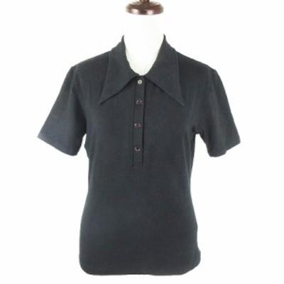 【中古】キャサリンハムネットロンドン ポロシャツ カットソー 半袖 薄手 無地 M 黒 ブラック トップス レディース