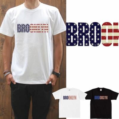 Tシャツ メンズ 半袖   星条旗 BROOKLYN/prd066 星柄 アメリカ国旗 ブルックリン 2p5000円おもしろT 通販 おしゃれ