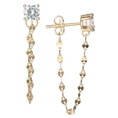 ジャーニ ベルニーニ レディース ピアス・イヤリング アクセサリー Round Cubic Zirconia Chain Earrings in 18K Gold Over Sterling Silver
