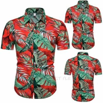 花柄ドレスシャツ メンズ 半袖シャツ  カジュアルシャツ メンズファッション フラワー柄 カジュアル ドレスシャツ 大きいサイズあり メン