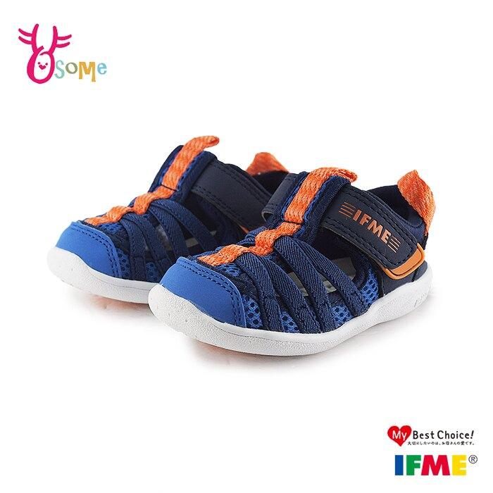 IFME 日本機能鞋 2020最新水涼鞋 小童 寶寶休閒運動鞋 Q7618#藍色◆OSOME奧森鞋業