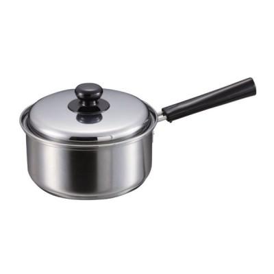 IHステンレス鍋 クックパレス ステンレス鍋 片手鍋18cm IH鍋 3層鋼 ステンレス鍋