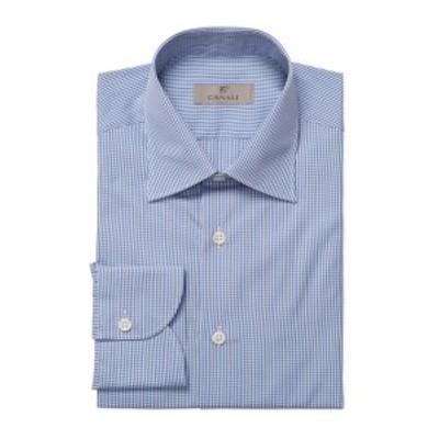 カナリ メンズ ドレスシャツ ワイシャツ Checkered Barrel Cuff Dress Shirt