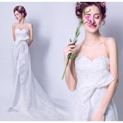 結婚式ワンピース 蝶結び付き ウェディングドレス 大人の魅力 花嫁 ドレス きれいめ ミドリフトップ 姫系ドレス ホワイト色