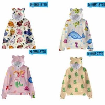パーカー トップス  個性的 可愛い プリント 子供服 フード付き 猫耳  花柄 スウェット 春秋 2020新作