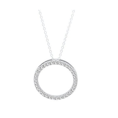 0.10 Carat (ctw) Round White Diamond Circle Pendant 1/10 CT (Silver Chain Included), 10K White Gold【並行輸入品】