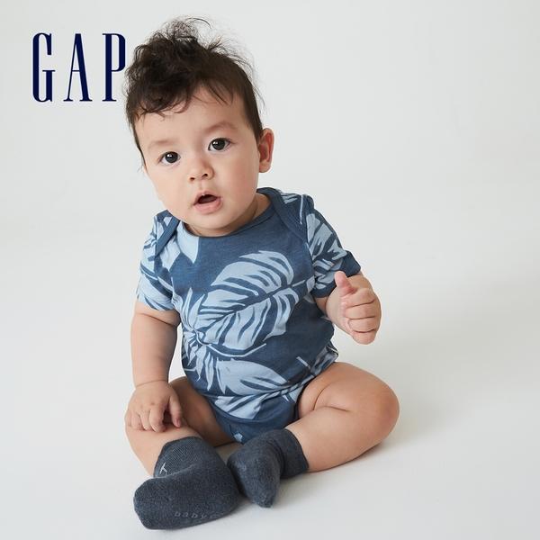 Gap嬰兒 布萊納系列 可愛純棉短袖包屁衣 691248-藍色印花