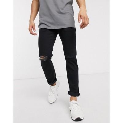 エイソス メンズ デニムパンツ ボトムス ASOS DESIGN stretch slim denim jean in black with knee rips Black