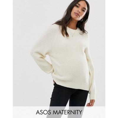 エイソス ASOS Maternity レディース ニット・セーター マタニティウェア トップス ASOS DESIGN Maternity fluffy jumper with balloon sleeve クリーム