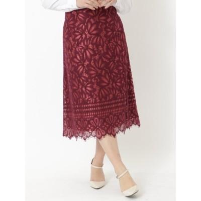 【大きいサイズ】Aラインカラーレーススカート 大きいサイズ スカート レディース