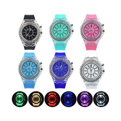 Weicam レディース 蛍光 カラフル ラインストーン 腕時計 アナログ クォーツ 腕時計 6個