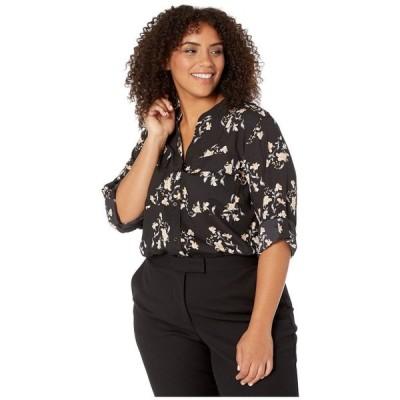 カルバンクライン Calvin Klein Plus レディース ブラウス・シャツ 大きいサイズ トップス Plus Size Printed Roll Sleeve Blouse Black/Multi