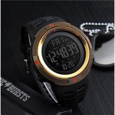 デジタルウォッチ  反転液晶 50m防水 GMTの両地の時の表示 目ざま し時計機能付き カレンダー  アウトドア 腕 時計 メンズ