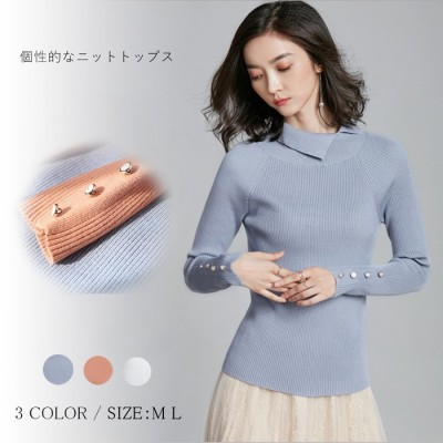 Doux Belle 不規則の襟がポイントニットセーター