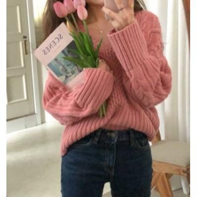 韓国 ファッション レディース ニット トップス ケーブル編み Vネック 長袖 ゆったり カジュアル シンプル 大人可愛い 秋冬