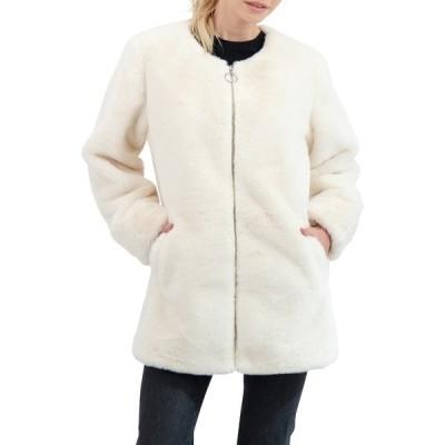 セビー レディース ジャケット&ブルゾン アウター Collection Collarless Reversible Faux Fur Jacket ECRU