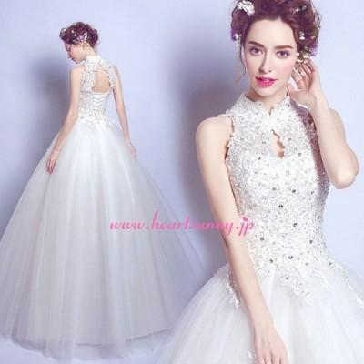 ウェディングドレス ハイネック ラインストーン飾りレース 編み上げ E516